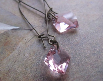 asymmetric pastel pink dangles - the rosalind earrings