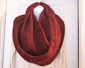 Hand crochet maroon tweed infinity scarf/cowl