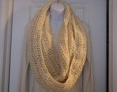 Hand crochet infinity scarf/cowl-cream