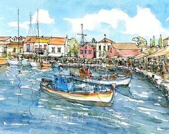 Kefalonia Fiscardo Greece art print from an original watercolor painting