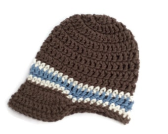 "Crocheted cotton visor beanie ""kidlid"" for newborn baby boy in brown, cream and blue."