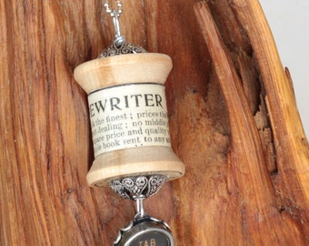 Vintage Wood Spool Pendant With Typewriter Key Charm