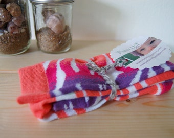 Leg Warmers for Sassy Girls - Bright Pink, Coral and Purple with White Animal Print - Baby Girl Leggings - Little Girl Leggings