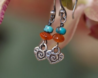 Southwestern Sterling Silver Heart with Carnelian and Turquoise Earrings