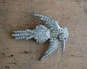 Art Deco rhinestone bird brooch / WHITE THROATED