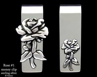 Rose Flower Money Clip Sterling Silver