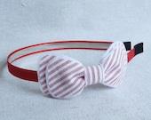Red Grosgrain Headband with Seersucker Bow