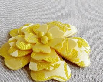 Flower Brooch in Yellow Brocade