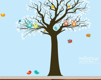 Vinyl Wall Decal Stickers Bird Tree Set Nursery Wall Sticker with owls