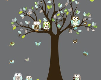 Vinyl Wall Decal  Vinyl Wall Decal Stickers Owl Tree Set Nursery Boy Baby Nursery Owl Decal