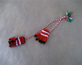 vintage hand knit wool red & white gloves christmas ornament