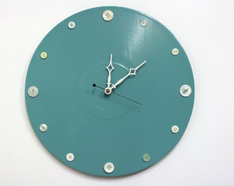 Teal with White Buttons Wall Clock