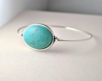 SILVER BANGLE BRACELET, sleek simple and feminine, summer jewelry, gift for her, gift for women, turquoise bracelet, custom size bracelet