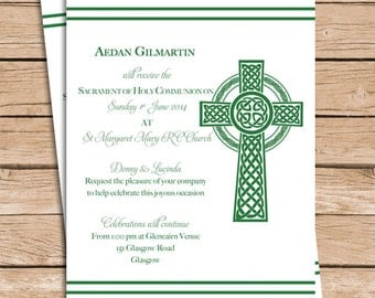 Celtic Baptism Invitation Christening Invitation or Communion Invitation