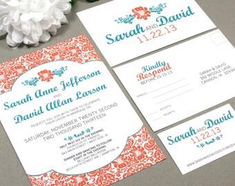 Damask Wedding Invitations Floral Pocket Fold Suite Sunflower Invites Orange and Teal Wedding Invitation DIY Printable Rustic Wedding Invite