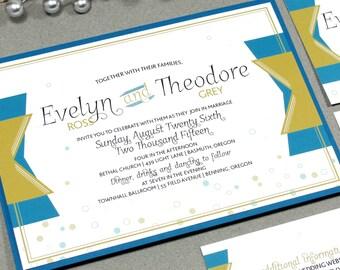 New Years Eve Wedding Invitation Set - Champagne Wedding, Roaring Twenties Invitation - Art Deco Wedding Invitation - Teal and Gold Wedding