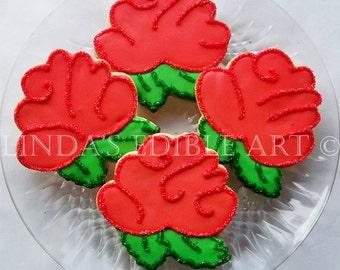 1 Dozen Red Rose Cookies