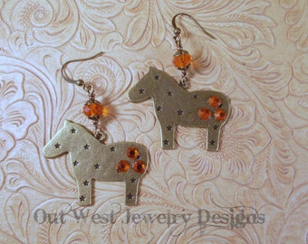 Western Cowgirl Earrings - Fat Brass Ponies with Orange Swarovski Crystal