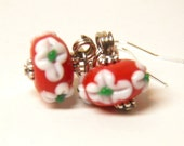 Christmas Earrings, Sterling Silver with Red and Green Artisan Lampwork Glass Flower Ornaments, Christmas Jewelry, Holly Christmas Earrings