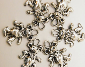 25 Pewter Dancing Bear Charms Silver Finish Hippie Charms Deadhead Jerry Garcia Grateful Dead Jewelry Beads USA Lead Free Pewter
