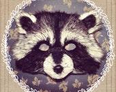Raccoon Mask Costume Handmade Vegan, raccoon costume, raccoon mask, animal mask, child costume, adult costume, woodland, rocket raccoon