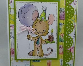 Henry Mouse Birthday Cupcake -  Blank NoteCard, Greetings Card, Handmade Card