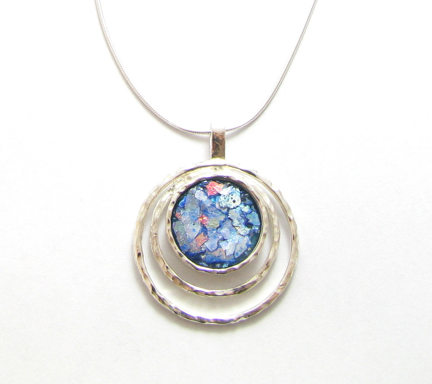 Amazing 925 Sterling Silver Roman Glass  Pendant  Necklace