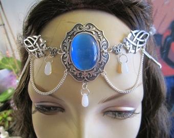 Sapphire Circlet of the Winter Skies Elven Celtic Druid LARP Bridal Renaissance Cosplay