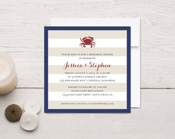 Nautical Rehearsal Dinner Invitations, Crab or Lobster
