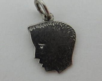BOYS HEAD ready for ENGRAVING -- Sterling Silver Charm