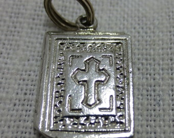 BIBLE with a CROSS  Sterling Silver charm or Pendant