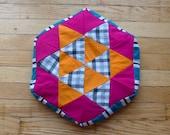 Pink & Orange Hexagon Pillow