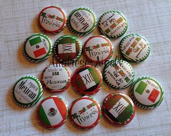 """Mexico, 1"""" Button, Mexico Pinback, Mexico Flatback, Mexico Badge, Mexico Birthday, Mexico Embellishment, Mexico Party Favor, Mexican Flag"""