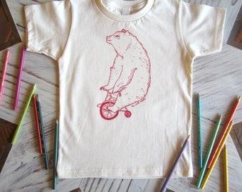 Organic Cotton Toddler Shirt - Screen Printed American Apparel Kids T Shirt - Circus Bear on Bike - Kids Clothes - Cotton Tee You pick size