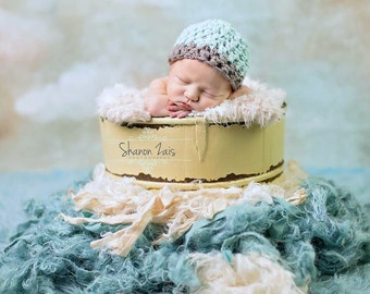 Glacier Blue Baby Hat Gray Edge Newborn Photography