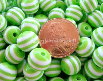 50 Lime Green and White Striped Round Resin Beads 10mm