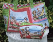 Large Fruit Ladies Beach Bag with Matching Zippered Pouch