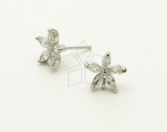 SI-596-OR / 2 Pcs - CZ Mini Flower Stud Earrings, Silver Plated over Brass Body with .925 Sterling Silver Post / 10mm x 10mm