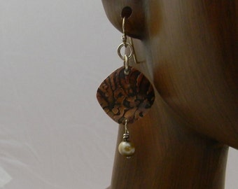 Etched copper squares with pearl dangle