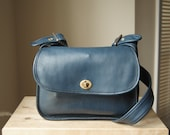 ON RESERVE - Authentic Bonnie Cashin for Meyers Soft Shoulder Sac - Peacock Blue Leather Purse with Hidden Kisslock Pouch