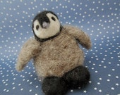 Needle Felted Penguin Chick, Wildlife, Antarctic, Bird, Seabird,One of a Kind