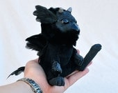 Black Gryphon Fledgeling - Soft Art Doll with Sculpted Details