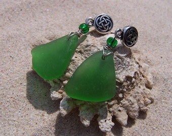 Sea Glass/Beach Glass Earrings in True Green with Celtic Knot Posts and Glass Bead Accents on Sterling French Ear Wires EG 40