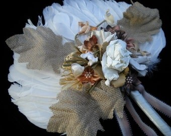 """Feather Fan, """"Fall Abundance"""", Vintage millinery cream & taupes adorn feathers with burlap leaves and ribbons  BRIDAL WEDDING (FFs239)"""