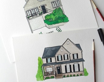 House Portrait - Watercolor and Illustration