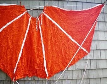 Orange & White Fabric Parachute Semi-circle for Costume or Repurpose