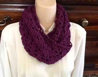 Purple Lacey Dress Crocheted Infinity Scarf