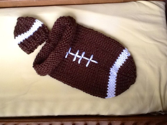 Knit Pattern Baby Football Hat : Hand knit baby cocoon bunting football and hat in NFL or