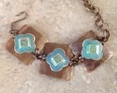 Caribbean Blue Metal Bracelet, patina'd, hammered, brass, Vintaj, summer