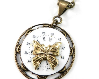 SALE - Steampunk Necklace Clockwork Butterfly Vintage Watch Dial Steampunk Jewelry by Compass Rose Design